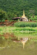 Pagoda by Inle Lake shore