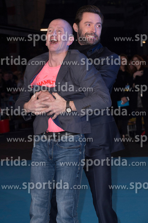 Eddie &quot;The Eagle&quot; Edwards and Hugh Jackman attends the European premiere for &quot;Eddie the Eagle at Odeon Leicester Square in London, 17.03.2016. EXPA Pictures &copy; 2016, PhotoCredit: EXPA/ Photoshot/ Euan Cherry<br /> <br /> *****ATTENTION - for AUT, SLO, CRO, SRB, BIH, MAZ, SUI only*****