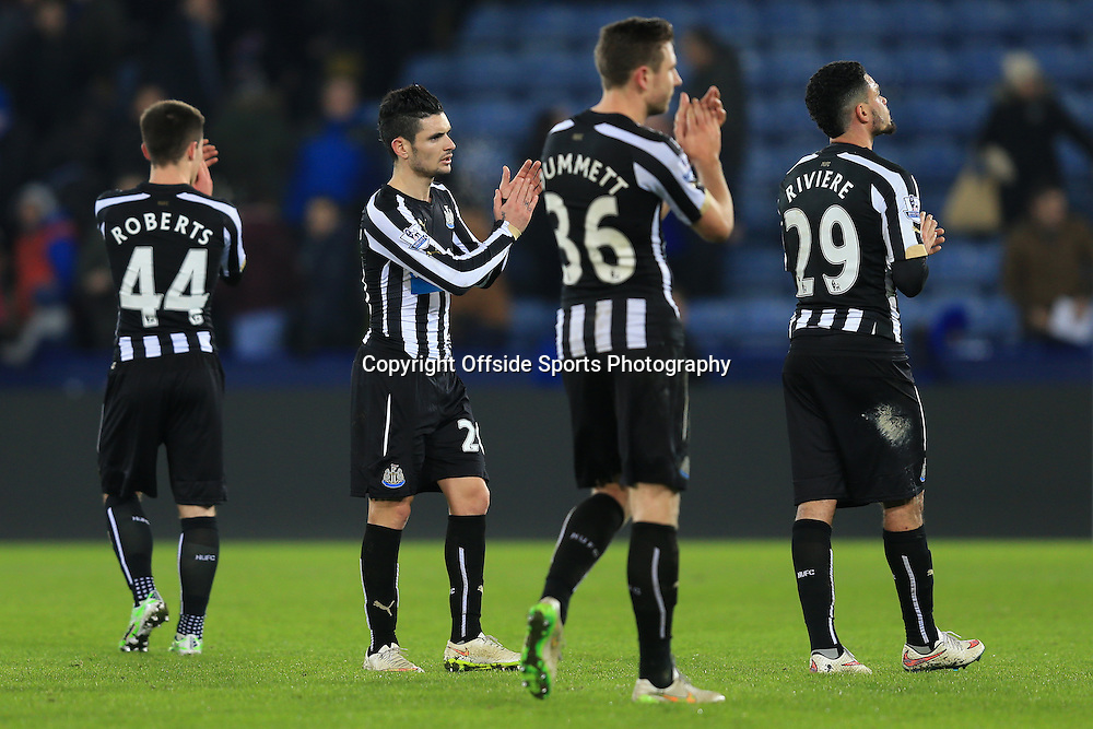 3 January 2015 - The FA Cup 3rd Round - Leicester City v Newcastle United - Dejected Newcastle players applaud the fans who boo them from the pitch at full time - Photo: Marc Atkins / Offside.
