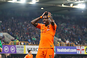 Netherlands forward Quincy Promes (11) puts his head in his hands during the UEFA European 2020 Qualifier match between Northern Ireland and Netherlands at National Football Stadium, Windsor Park, Northern Ireland on 16 November 2019.