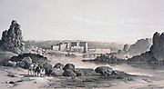 Philae - Looking South', 1843. Lithograph after Owen Jones and Jules Goury. View of the temples on the island of Philae, River Nile near Aswan.  Ancient Egypt Religion Mythology