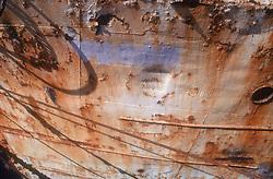 Rusting hull of boat in harbour at Las Palmas; Gran Canaria; Canary Islands; Spain,