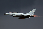 Eurofighter Typhoon is a twin-engine canard-delta wing multirole aircraft at the Royal International Air Tattoo