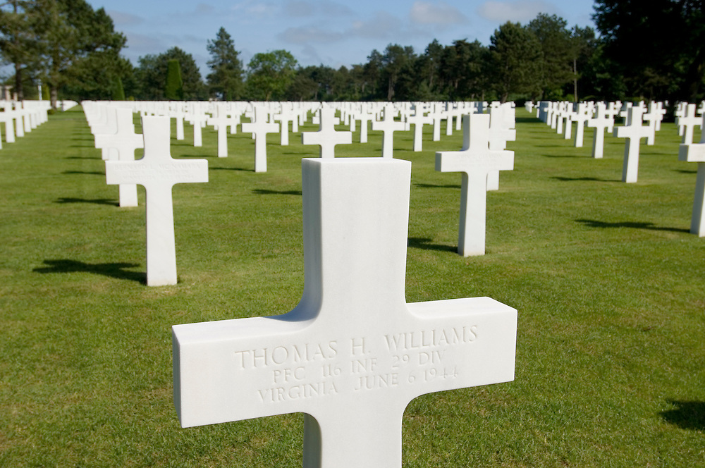 The grave stones of the American war cemetery at St Laurent, Normandy, France. 9387 US servicemen are buried there.