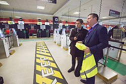 Matt shadowing Edinburgh Airport's chief exec Gordon Dewar as he runs Scotland's busiest airport. Pic of the new bag drop area.