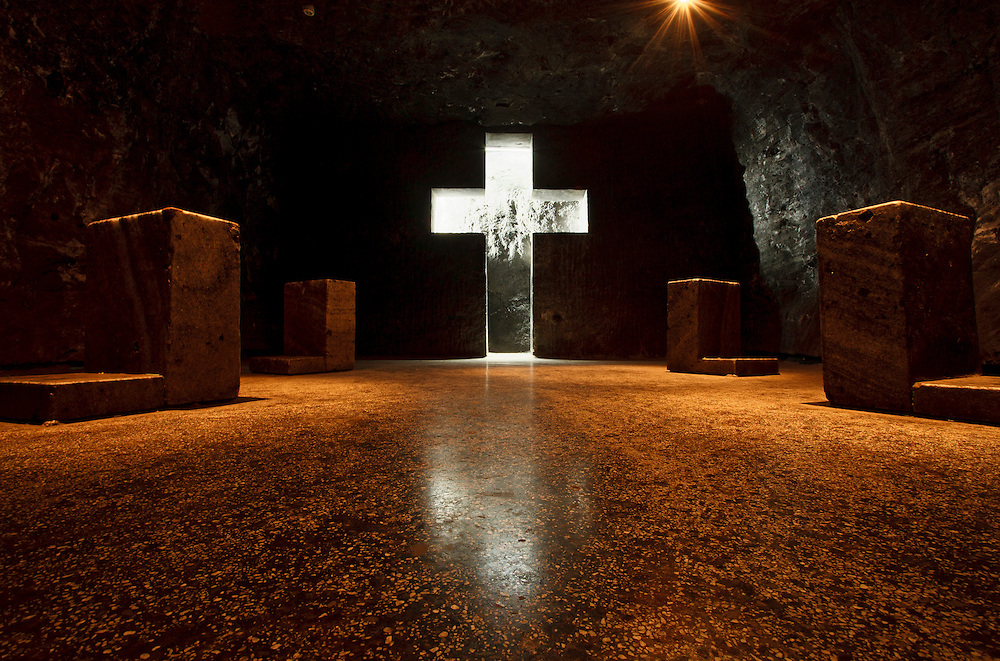 Illuminated Holy Cross carved out of rock salt,  Salt Cathedral of Zipaquira, Colombia, South America