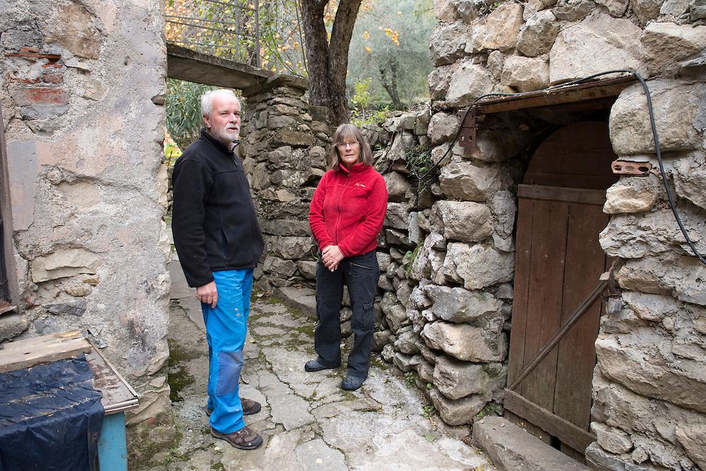 November 9, 2016,  Breil-sur-Roya, French Alpes, France. Sylvain, 67 years, and his wife Fran&ccedil;oise near their home in the village Libre. Sylvain is a retired school teacher and grandfather, he welcomed dozens of migrants in his house in the Roya valley.<br /> <br /> 9 novembre 2016, Breil-sur-Roya, France. Sylvain, 67 ans, et son &eacute;pouse Fran&ccedil;oise pr&egrave;s de leur domicile dans le village Libre. Sylvain est professeur retrait&eacute; et grand-p&egrave;re, il a accueilli des dizaines de migrants dans sa maison dans la vall&eacute;e de la Roya.