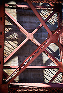 Abstracted, detail view of the Golden Gate Bridge, as seen from Fort Point, San Francisco