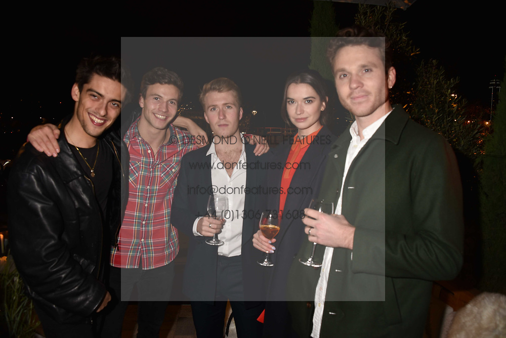 Max Gill, Leo Suter, Jordan Waller, Margaret Clunie, Tom Gibson at the launch of Fiume at Battersea Power Station, Battersea, London England. 16 November 2017.<br /> Photo by Dominic O'Neill/SilverHub 0203 174 1069 sales@silverhubmedia.com