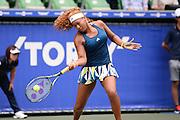 SEPTEMBER 21: Naomi Osaka of Japan competes against Dominika Cibulkova of Slovakia during women's singles match day three of the Toray Pan Pacific Open at Ariake Colosseum on September 21, 2016 in Tokyo, Japan 21/09/2016-Tokyo, JAPAN