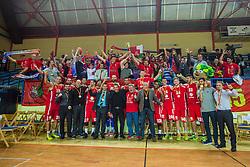 KK Tajfun Sentjur team with fans after winning supercup basketball match between KK Krka Novo mesto and KK Tajfun Sentjur at Superpokal 2015, on September 26, 2015 in SKofja Loka, Poden Sports hall, Slovenia. Photo by Grega Valancic / Sportida.com