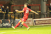 York City forward, on loan from Oldham Athletic, Rhys Turner scores during the Sky Bet League 2 match between York City and Oxford United at Bootham Crescent, York, England on 29 September 2015. Photo by Simon Davies.