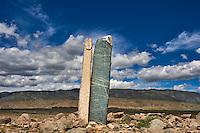 Mongolie, province de Bayan-Ulgii, région de l'ouest, Parc national de Tavan Bogd, stèle à visage humain // Mongolia, Bayan-Ulgii province, western Mongolia, National Parc of Tavan Bogd, stele with a human face