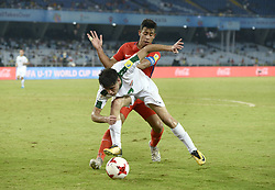 October 11, 2017 - Kolkata, West Bengal, India - Player of Iraq and Chile in action during the FIFA U 17 World Cup India 2017 Group F match on October 11, 2017 in Kolkata. (Credit Image: © Saikat Paul/Pacific Press via ZUMA Wire)