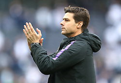 Tottenham Hotspur manager Mauricio Pochettino applauds the fans after the final whistle during the Premier League match at Tottenham Hotspur Stadium, London.