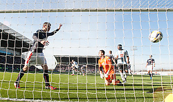 Hearts Jamie Walker scoring their first goal. <br /> Falkirk 0 v 3 Hearts, Scottish Championship game played 21/3/2015 at The Falkirk Stadium.