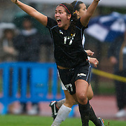 Ashley Roese celebrates after scoring a goal for Long Beach State in the  NCAA Tournament match against University of San Diego, at Drake Stadium, Los Angeles, Calif., Sun., Nov. 20, 2011.