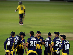 Glamorgan celebrate Glamorgan's Ruaidhri Smith's wicket of Hampshire's Michael Carberry - Photo mandatory by-line: Robbie Stephenson/JMP - Mobile: 07966 386802 - 03/07/2015 - SPORT - Cricket - Southampton - The Ageas Bowl - Hampshire v Glamorgan - Natwest T20 Blast
