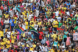 Dec. 11, 2013 - Cape Town, Western Cape, South Africa - A section of the crowd wave flags and hold posters aloft during the City of Cape Town hosted concert at the 45000 seater Cape Town Stadium called ''Nelson Mandela - A life Celebrated''. Nelson Mandela was the first democratically elected president of South Africa, Wednesday, 11th December 2013. Picture by Roger Sedres / i-Images (Credit Image: © Roger Sedres/i-Images/ZUMAPRESS.com)
