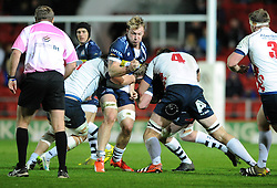 Bristol Rugby Number 8 Mitch Eadie is challenged for the ball - Mandatory byline: Dougie Allward/JMP - 27/11/2015 - RUGBY - Ashton Gate - Bristol, England - Bristol Rugby v London Scottish - Greene King IPA Championship