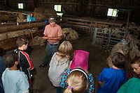 Jeff Keyser talks with Mrs. Phillip's 4th graders from Gilmanton Elementary about shearing the fleece on his Suffolk Sheep during their field trip to Ramblin' Vewe Farm in Gilford on Wednesday.  (Karen Bobotas/for the Laconia Daily Sun)