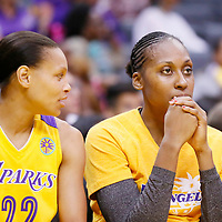 03 August 2014: Los Angeles Sparks forward/center Sandrine Gruda (7) is seen on the bench next to Los Angeles Sparks guard/forward Armintie Herrington (22) during the Los Angeles Sparks 70-69 victory over the Connecticut Sun, at the Staples Center, Los Angeles, California, USA.