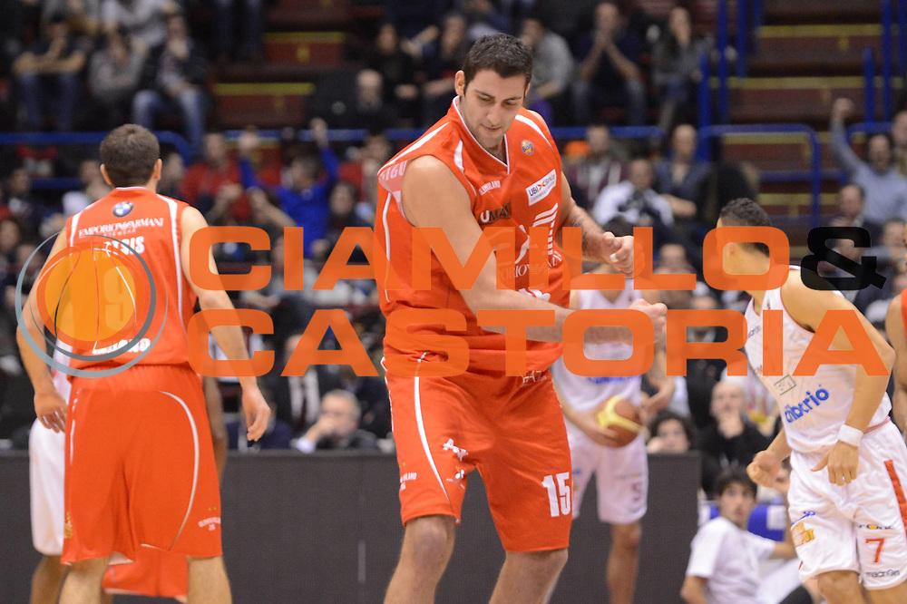 DESCRIZIONE : Milano Coppa Italia Final Eight 2013 Quarti di Finale Cimberio Varese EA7 Emporio Armani Milano<br /> GIOCATORE : Ioannis Bourousis<br /> CATEGORIA : esultanza<br /> SQUADRA : EA7 Emporio Armani Milano<br /> EVENTO : Beko Coppa Italia Final Eight 2013<br /> GARA : Cimberio Varese EA7 Emporio Armani Milano<br /> DATA : 07/02/2013<br /> SPORT : Pallacanestro<br /> AUTORE : Agenzia Ciamillo-Castoria/M.Marchi<br /> Galleria : Lega Basket Final Eight Coppa Italia 2013<br /> Fotonotizia : Milano Coppa Italia Final Eight 2013 Quarti di Finale Cimberio Varese EA7 Emporio Armani Milano<br /> Predefinita :