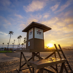 Newport Beach California Lifeguard Tower B sunrise photo on Balboa Peninsula. Newport Beach is a popular coastal beach city in Southern California. Photo is high resolution. Copyright ⓒ 2017 Paul Velgos with All Rights Reserved.