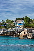 Aqua marine water and coastal caves, Negril, Jamaica