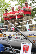 The Row 4 Victory Team (left to right) Will Quarmby (skipper), Duncan Roy, Glyn Sadler and Fraser Mowlem with their boat Talisker at York Racecourse, York, United Kingdom on 13 July 2018. Picture by Mick Atkins.