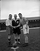 14/12/1952<br /> 12/14/1952<br /> 14 December 1952<br /> Shamrock Rovers v Waterford at Milltown Park, Dublin. The team captains shake hands in front of the referee before kick-off.