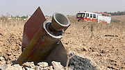 Israel, Sderot, The remains of a Qassam rocket launched by Hamas from Gaza In an empty field near the city, August 23rd 2007