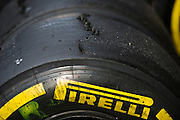 April 17, 2014 - Shanghai, China. UBS Chinese Formula One Grand Prix. Pirelli rubber<br /> <br /> © Jamey Price / James Moy Photography