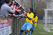 Rochelle Shakes celebrates her second with the Palace fanatics during the Women's FA Cup match between Charlton Athletic WFC and Crystal Palace LFC at Sporting Club Thamesmead, Thamesmead, United Kingdom on 8 March 2015. Photo by Michael Hulf.