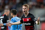 SYDNEY, AUSTRALIA - OCTOBER 26: Western Sydney Wanderers defender Daniel Wilmering (29) complains the the assistant referee during the round 3 A-League soccer match between Western Sydney Wanderers FC and Sydney FC on October 26, 2019 at Bankwest Stadium in Sydney, Australia. (Photo by Speed Media/Icon Sportswire)
