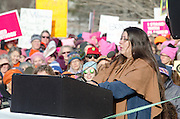 Augusta, Maine, USA. 21st Jan, 2017.  June Sapiel, water protector and member of the Penobscot Nation, addresses the Women's March on Maine rally in front of the Maine State Capitol. The March on Maine is a sister rally to the Women's March on Washington.