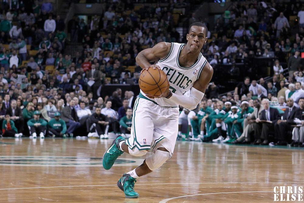 06 March 2012: Boston Celtics point guard Rajon Rondo (9) is seen during the Boston Celtics 97-92 (OT) victory over the Houston Rockets at the TD Garden, Boston, Massachusetts, USA.