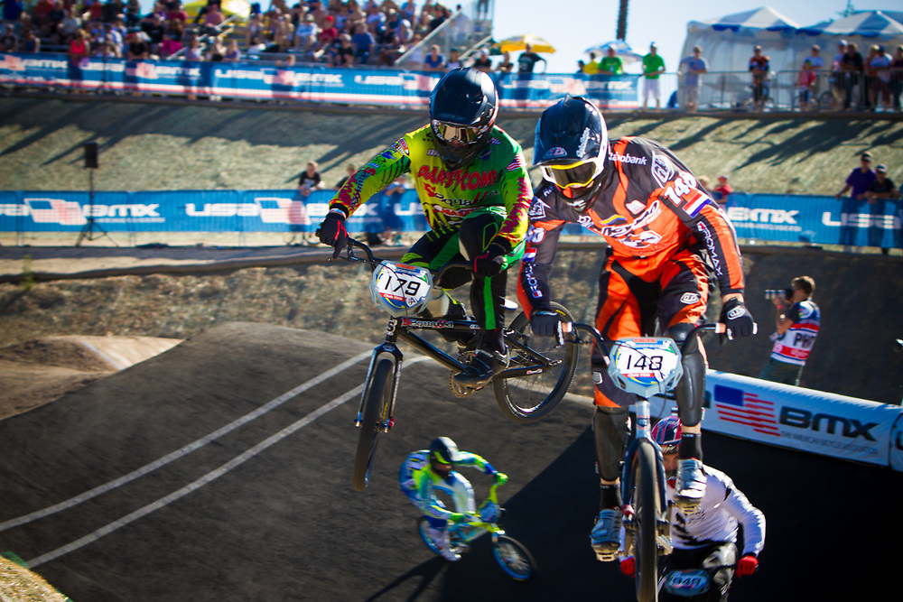 #179 (POSEY Justin) USA and  #148 (VAN GENDT Twan) NED at the 2013 UCI BMX Supercross World Cup in Chula Vista