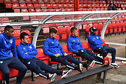 Oldham Athletic players before the EFL Sky Bet League 2 match between Grimsby Town FC and Oldham Athletic at Blundell Park, Grimsby, United Kingdom on 15 September 2018.