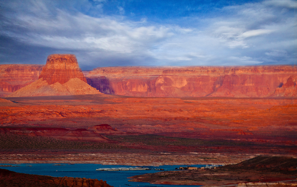 Looking accross Lake Powell to  buttes and Sandstone Ridges of Utah from Page Arizona