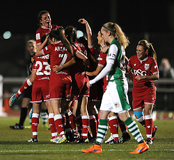 Rosella Ayane of Bristol City Women celebrates her second goal with team mates - Mandatory by-line: Dougie Allward/JMP - Mobile: 07966 386802 - 23/03/2016 - FOOTBALL - Stoke Gifford Stadium - Bristol, England - Bristol City Women v Yeovil Town Ladies - FA Women's Super League 2