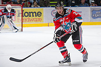 KELOWNA, CANADA - NOVEMBER 30: Jesse Lees #2 of the Kelowna Rockets skates on the ice against the Moose Jaw Warriors at the Kelowna Rockets on November 30, 2012 at Prospera Place in Kelowna, British Columbia, Canada (Photo by Marissa Baecker/Getty Images) *** Local Caption ***