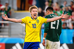 June 27, 2018 - Ekaterinburg, Russia - EMIL FORSBERG, of Sweden, celebrates the 0-3 goal during the FIFA World Cup group stage match between Mexico and Sweden. (Credit Image: © Petter Arvidson/Bildbyran via ZUMA Press)