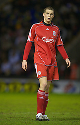 WARRINGTON, ENGLAND - Tuesday, February 26, 2008: Liverpool's Daniel Agger in action against Manchester United during the FA Premiership Reserves League (Northern Division) match at the Halliwell Jones Stadium. (Photo by David Rawcliffe/Propaganda)