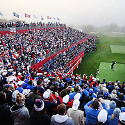 Ryder Cup 2016. Day One. Justin Rose of Europe tees off at the first hole to start the Ryder Cup in the Friday morning foursomes during the Ryder Cup competition at the Hazeltine National Golf Club on September 30, 2016 in Chaska, Minnesota.  (Photo by Tim Clayton/Corbis via Getty Images)