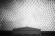 London. UK - british museum  the great courtyard. a glass dome with interesting geometry