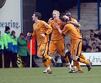 Photo: Kevin Poolman.<br />Luton Town v Wolverhampton Wanderers. Coca Cola Championship. 03/03/2007. Gary Breen (no5), Stephen Ward (no17), Seyi Olofinjana (no4) and Andy Keogh (no39) of Wolves celebrate their first goal.