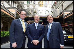 L to R David Johnstone, Kiaran Macdonald Managing Director of the Savoy and Lord Fink founders of The Global Party at the Press Launch of The Global Party, hold a press Conference to launch the Party at the Savoy Hotel in London where one of the parties will be held. The party consists of 360+ Parties around the World on June 27th, 28th and 29th in 120+ cities in aid of 360+ Local Benefiting Children's Charities in 2013, London, UK, Wednesday May 15, 2013. Photo by: Andrew Parsons / i-Images