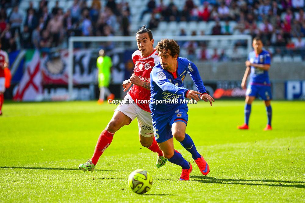 Rodrigues DIEGO RIGONATO / Gregoire PUEL - 12.04.2015 - Reims / Nice - 32eme journee de Ligue 1 <br />Photo : Dave Winter / Icon Sport