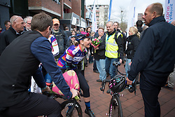 Lisa Brennauer (GER) of CANYON//SRAM Racing chats to race organisers after Stage 3 of the Healthy Ageing Tour - a 154.4 km road race, between  Musselkanaal and Stadskanaal on April 7, 2017, in Groeningen, Netherlands.